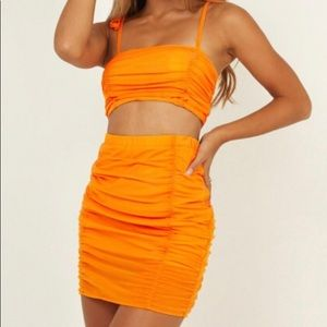 Orange two piece set from Showpo